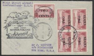 1947 Newfoundland Gander to New York First Flight Cover
