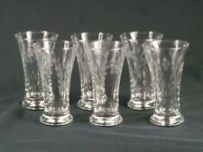 Crystal Glass  Set of 6 Small Schooner Glasses With Etched Wheat Leaves