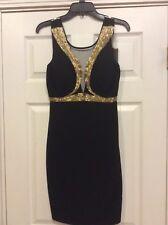 Black Gold Beaded Dress, Size S