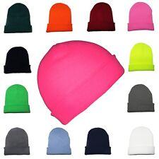 KIDS Beanie Hat Boys Girls Slouch Winter Woolly Ski Childrens Turn Up Neon Warm