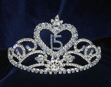 Crystal Rhinestones Sweet 15 Quinceanera Tiara Blue w/Combs .3.25 Inches Tall