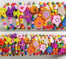 12x Mix Children Wood Elastic Bead Bracelets Kids Party Bag Fillers Jewelry Lots