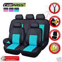 Premium Universal Car Seat Covers Leather Mint Blue For Boy Girls Split Rear Set