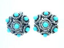 VTG CROWN TRIFARI Faux Turquoise Silver Tone Filigree Dome Clip Earrings