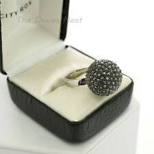 CITY ROX Women's Size 8 DARK GREY BEADED RING Dome SILVER Tone BAND Gift Box