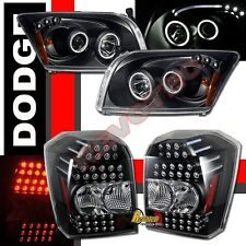 07-09 Dodge Caliber SRT4 CCFL Halo Black Projector Headlights & LED Tail Lights