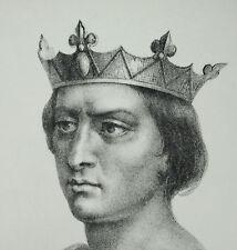 Antique print Louis VIII le Lion roi des Francs Capétiens directs c1850