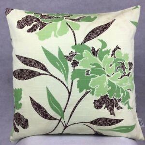 686. Handmade  ORANGERIE LIME GREEN FLOWERS 100% Cotton Cushion Cover