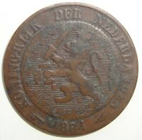 1884 NETHERLANDS 2 1/2 CENTS WORLD COIN NICE!
