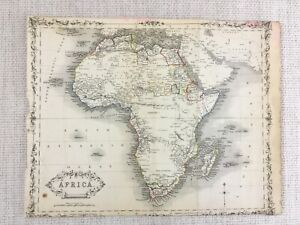 1848 Antique Map of Africa Madagascar 19th Century Hand Coloured Engraving