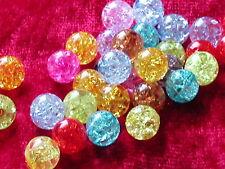 50 Acryl Crackle Perlen Mix 8 mm  Perlen Schmuck Basteln