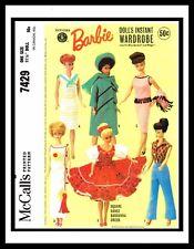 McCall's 7429 Barbie Midge DOLL Wardrobe Fabric Sewing Pattern Mattel Muñeca 50s