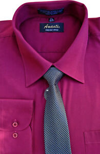 Amanti Men Classic Dress Shirt Convertible Cuff Solid With Matching Tie Burgundy