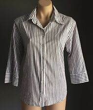 Classy Great Condition NONI B White & Grey Stripe 3/4 Sleeve Shirt Size12
