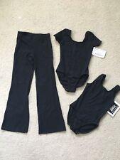 Girls Leotard Tank Suit Pant 3 pc lot Main Street Dancewear Black NWT Int Child