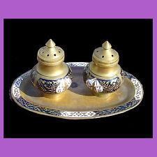 VASSOIO SALE -PEPE DA COLLEZIONE vintage ottone decorato smalto piatti posate