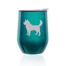 Stemless Wine Tumbler Coffee Travel Mug Glass Cup w/ Lid Husky