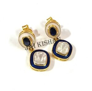 Enamel Sapphire Gemstone 925 Sterling Silver Polki Diamond Earrings Jewelry