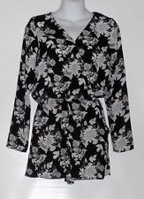 Divided H&M Ladies Woven Long Sleeve V-Neck Jumpsuit Black & White Four (4) NWT
