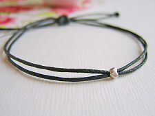 tiny silver heart  black wax cotton cord string adjustable friendship bracelet