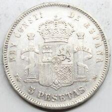ESPAÑA ALFONSO XIII 1892 *?8-92 PGM ¨PELÓN¨ 5 PESETAS MONEDA PLATA MBC+