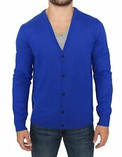 NEW $360 GALLIANO Blue Wool Blend Button Down Logo Cardigan Sweater Top s. XXL