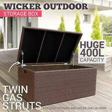 400L PE Wicker Outdoor Storage Box Waterproof Rattan Chest Garden Deck Toy Brown