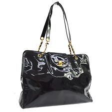 CHANEL Super Model Jumbo CC Chain Shoulder Bag Black Patent Leather AK36847b
