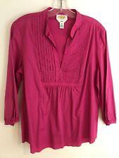 TALBOTS Women's Fuchsia Pink Pleated Front Stretch Cotton Top 3/4 Sleeve Medium