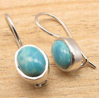 FINE QUALITY JEWELRY EARRINGS BLUE , Simulated LARIMAR Gems, 925 Silver Plated