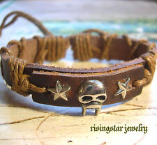 "Handmade Spooky ""Alien Vampire"" Metal Leather Hemp Fashion Bracelet Wristband"