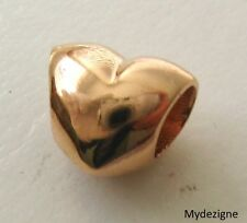 GENUINE  SOLID  9K  9ct  ROSE  GOLD  CHARM LOVE HEART  BEAD GIFT