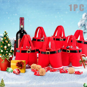 1-10X CHRISTMAS PARTY RED XMAS CANDY BAG SANTA CLAUS PANTS ELF FILLER TROUSERS