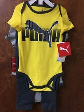 Puma Boy's 3 Piece Outfit Set 18 Months Yellow/Gray