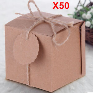50PCS Eco Kraft Small Natural Gift Boxes Wedding Party Favour String Tags
