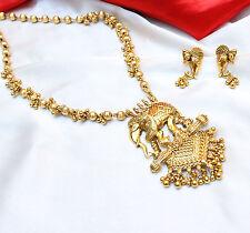 Indian Ethnic Bahubali Pendant Gold Plated Polki Necklace & earring set Bridal