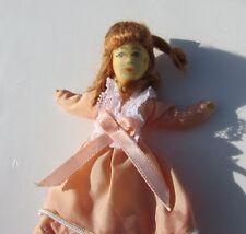 "Erna Meyer Dollhouse Doll Little Girl Red Hair Vintage Germany 4"" Cloth Flexible"