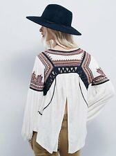 148614 New $128 Free People Snow Kisses Embroidered Cutout Cream Blouse Top S