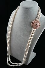 36/37 inches 8-9mm Double-Strand White Pearl Necklace with Leopard Head Ornament