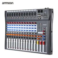 ammoon 12 Channels Mic Audio Mixer Console 3-band EQ USB XLR Input US Plug T8Y0
