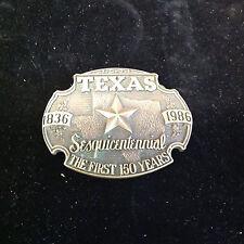Texas Sesquicentennial  1836-1986  Brass Belt Buckle  Exc Cond