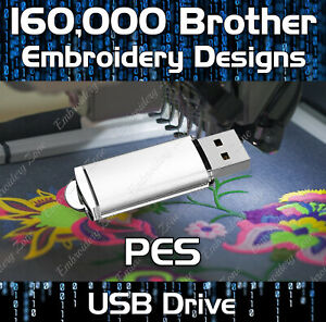 160,000 PES Brother embroidery pattern design files on USB drive