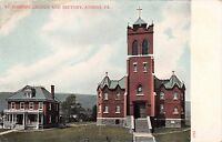 ATHENS PENNSYLVANIA ST JOSEPH'S CATHOLIC CHURCH & REFECTORY POSTCARD 1910s