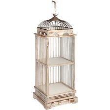 Small Dome-shaped Bird Cage 2-tier Open Display Shelving Unit in Antique White