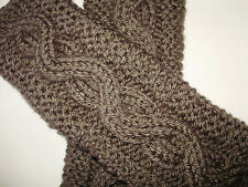Taupe Grey Brown Cable/Garter Stitch Knit Fingerless Gloves Text Handmade Knit