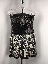 Vintage A J BARI Black White Silk Cocktail Dress Party Prom 80s Sequin LOUD Sz 8