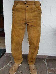 Herren Trachten Lederhose lang, Hellbraun, Größe 50, Marke Almsach, Topp Zustand