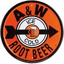 A & W Root Beer Ad Tin Sign Vintage Retro Wall Art Home Man Cave Garage Decor