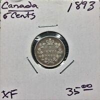1893 CANADA 5 CENTS COIN QUEEN VICTORIA SILVER XF