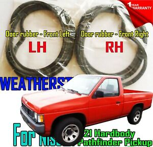 FOR Nissan D21 Hardbody Pathfinder Pickup Pair Weatherstrip Door Rubber Seal Set